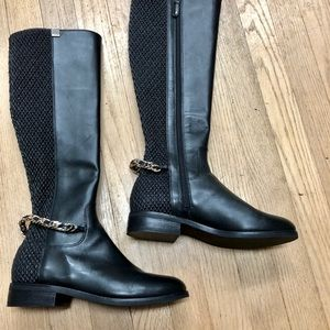 Cole Haan black knee high stretch boots